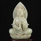 Fine Chinese Natural Jadeite Carving; Kwan-Yin.