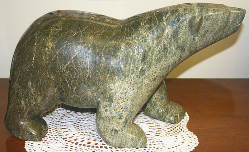 Inuit peter parr polar bear stone sculpture carving item