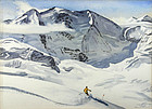 Churchill Ettinger skiing painting, Italian Swiss Alps