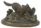 Continental figural bronze match safe - fox in a trap