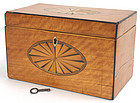 George III satinwood inlaid tea caddy box, English