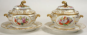 Pair English porcelain dessert sauce tureens