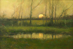 Dennis Sheehan landscape painting - Haze at Sunrise