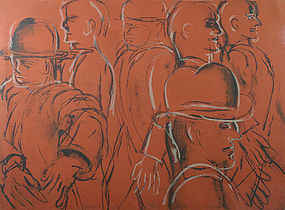 Lester Johnson original silk screen- Men in Bowler Hats