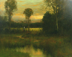 Dennis Sheehan tonalist painting of a marsh at sunset