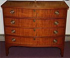 Federal era tiger maple bow front chest, New England