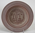 Edwin and Mary Scheier art pottery plate with two faces