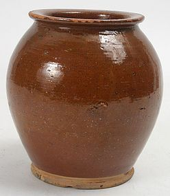 Antique Redware pottery ovoid jar in brown glaze