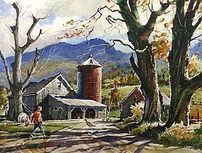 Ted Kautzky Watercolor Painting Autumn In Vermont Item