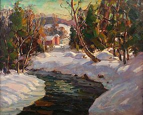 Thomas R. Curtin VT painting - Winter Stream and Farm