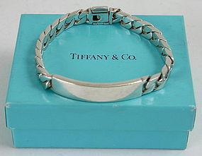 Tiffany And Co Sterling Silver I D Curb Link Bracelet