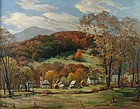 Jacob Greenleaf painting of Vermont Village in Autumn