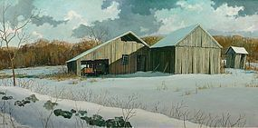 Eric Sloane painting - CT Barn in Winter - February