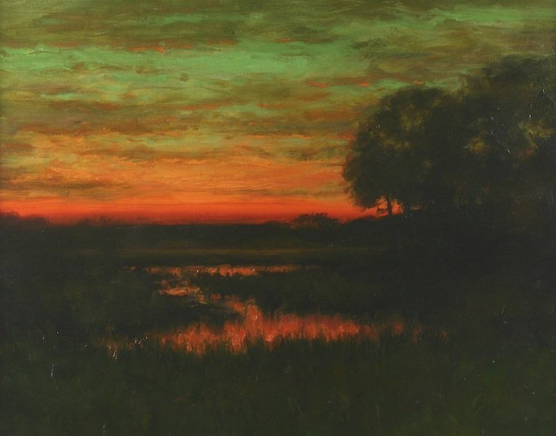 Dennis Sheehan painting - Sunset Afterglow on a Marsh