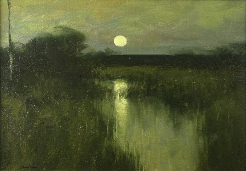 Dennis Sheehan painting - Full Moon On A Marsh