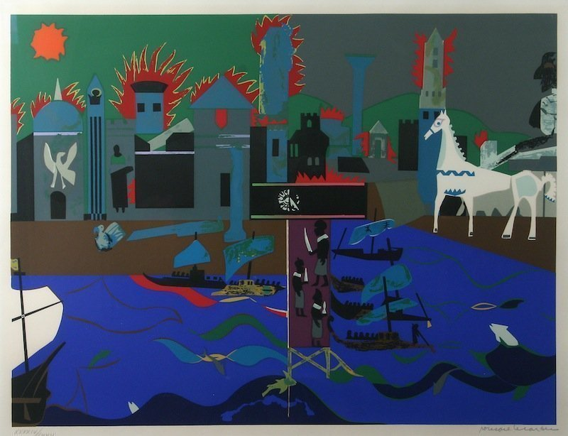 Romare Bearden - The Fall of Troy screen print, signed, 1979