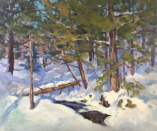 Eric Tobin Painting Winter Woods With Stream Vermont
