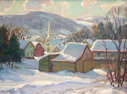 Thomas R Curtin Landscape Painting Village In Winter