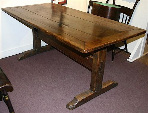 Beau Antique English Refectory Trestle Table, 18th Century