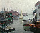 Thomas R. Curtin misty harbor painting, Gloucester, MA