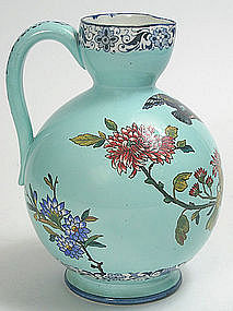 French Gien Pottery Faience Jug Turquoise Bird Design