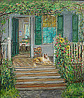 Arthur B. Wilder painting - Collie dog on porch, VT