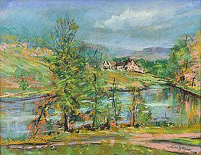 Arthur B. Wilder pastel, Vermont hillside farm & pond