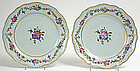 Pair Chinese export Qianlong porcelain plates, 18th C.