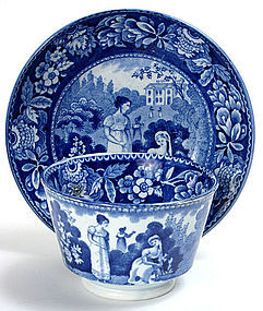 Historical Staffordshire tea cup, dark blue transfer