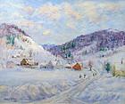 Arthur B. Wilder painting - Vermont village in winter