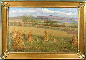 Edwin B. Child painting of haystacks, Vermont