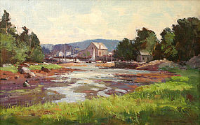 Bernard Corey painting of Harbor at Low Tide