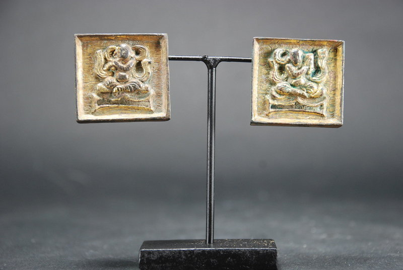 A Pair of Gilt Bronze Belt Plates, China, Liao Dynasty