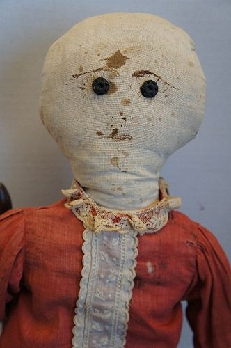 Simple Country Antique Rag Doll With Ink Drawn Face Item