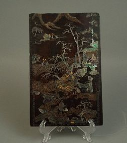 18th Century Chinese Lacquer Lac Burguate Plaque