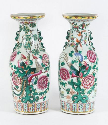 A Pair Of Antique Chinese Famille Rose Porcelain Vases Item 1380360