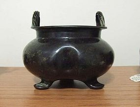 Heavy Chinese Flower Shape Bronze Censer