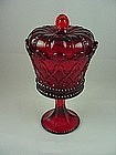 Fostoria Crown Hapsburg Candy Jar & Cover - Ruby