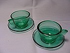 Akro Agate Small Stippled Band Cup & Saucer