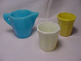 Akro Agate Octagonal Tumblers and Teapot