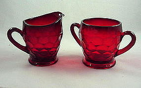 Fenton Georgian Sugar & Creamer Set - Ruby