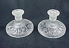 Consolidated Glass Iris Candlesticks - French Crystal