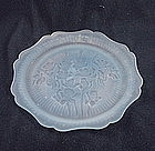 Iris & Herringbone Luncheon Plate - Blue Satin