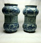 Pair 18th century Italian drug jars. Albarelli.