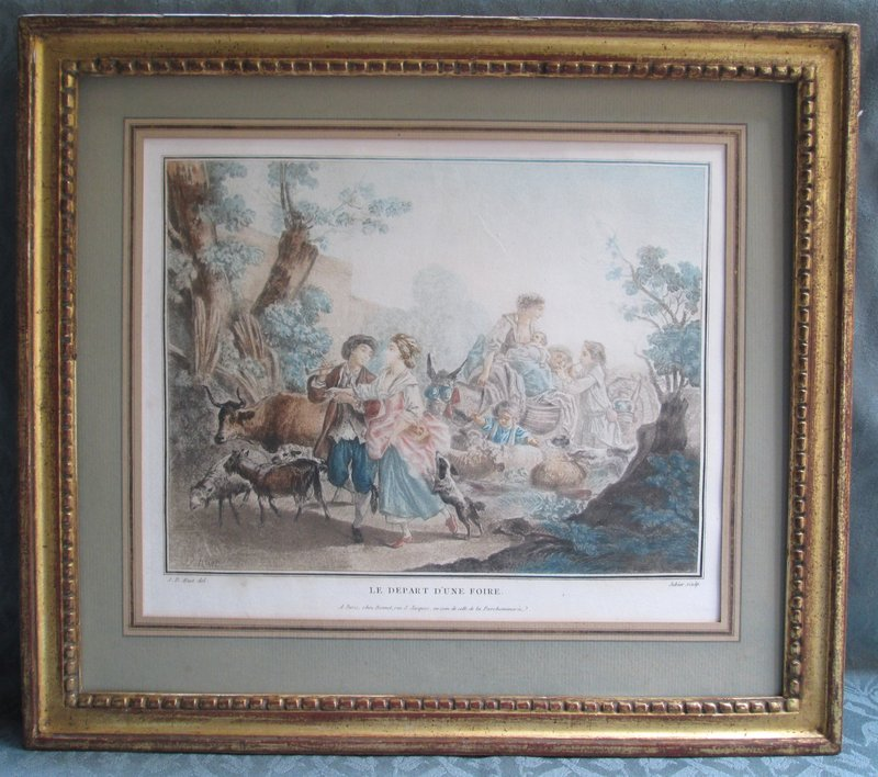 French 18th c. color printed engraving after Huet