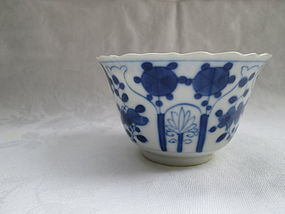 Chinese blue and white porcelain 18th century cup