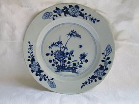 A Chinese export blue & white plate mid-18th c.