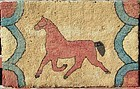 Hooked rug of a trotting horse c. 1920