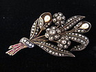 Edwardian Diamond Pin with Rubies & Pearls