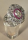 Antique Platinum, Diamond & Ruby Ring